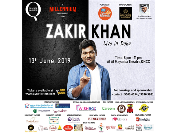 ZAKIR KHAN LIVE IN DOHA - DESI COMEDY NIGHTS 2019, biletino, Millennium Entertainment