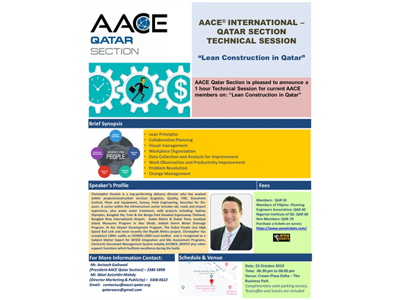 "AACE International Qatar Section Technical Session ""Lean Construction in Qatar"", biletino, AACE Qatar Section"