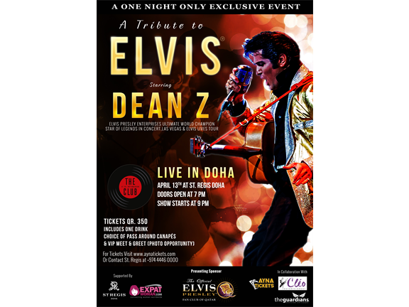 A Tribute To Elvis Starring Dean Z, biletino, The Official Elvis Presley Fan Club Of Qatar